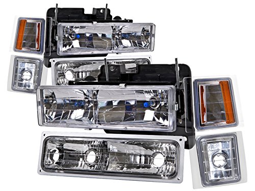 Chevrolet Truck New 8-Piece Headlights Set w/Halogen-Type Xenon Headlight Bulbs