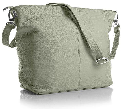 Big Handbag Shop - Borsa a tracolla, da donna, formato medio, in vera pelle italiana Light Grey