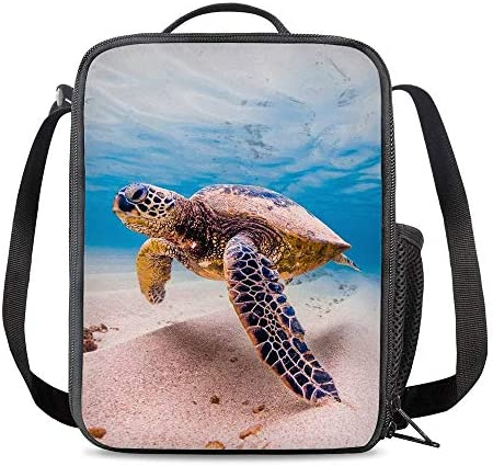 Vunko Sea Turtle Insulated Lunch Bag for School Work Office Picnic Ocean Hawaii Tote Lunch Box Containers for Adults and Kids Compact Reusable Cooler BagShoulder Strap