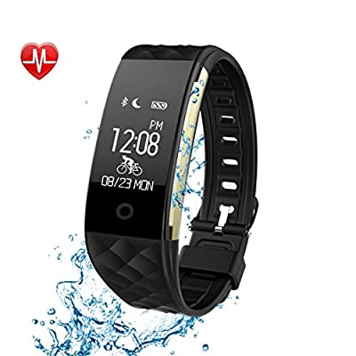 TwobeFit Fitness Tracker Heart Rate Monitor Activity Health Tracker Waterproof Smart Wristband Band with Pedometer Sleep Monitor Step Calorie Counter Bluetooth Bracelet for Swimming Bicycling