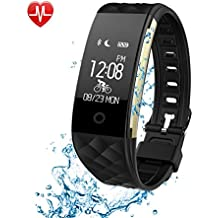 Fitness Tracker Heart Rate Monitor Activity Health Tracker Waterproof Smart Wristband Band with Pedometer Sleep Monitor Step Calorie Counter Bluetooth Bracelet for Swimming Bicycling