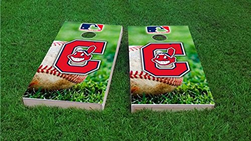 Tailgate Pro's Cleveland Baseball Cornhole Boards, ACA Corn Hole Set, Comes with 2 Boards, 8 All Weather Bags & 2 Board Hole Lights