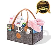 Baby Diaper Caddy - Durable Nursery Diaper Holder With Leather Handles – Stylish Car Organizer With Multiple Pockets – Portable Storage Basket Case For Baby's Essentials By Mommy's Secret (Dark Gray)