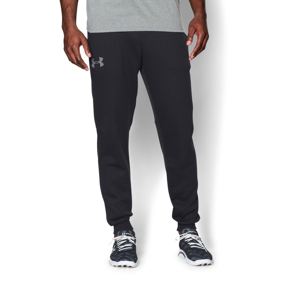 Under Armour Men's Rival Fleece Joggers, Black /Steel, X-Large by Under Armour