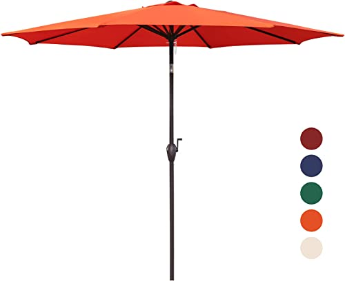 KINGYES 9Ft Patio Table Umbrella Outdoor Umbrella with Push Button Tilt and Crank for Commercial Event Market, Garden, Deck,Backyard Swimming and Pool Orange