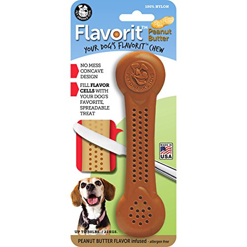 Pet Qwerks Flavorit Peanut Butter Flavor Infused Nylon Chew- Fillable Porous Surface for Spreads, Durable Tough Toys for Aggressive Chewers   Made in USA with FDA Compliant Nylon - for Medium Dogs