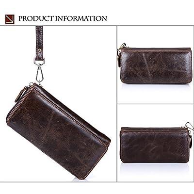 UHHAN Genuine Leather Wallet,Clutch Bag Handbag Organizer Checkbook Card Case Men