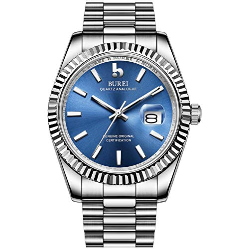 BUREI Men Quartz Wirst Watch Blue Analog Dial with Date Window Sapphire Crystal Lens Silver Stainless Steel Case and Band