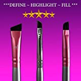 Eyebrow Brush Set Star Beauty Premium Synthetic Eyebrow brushes FIRM HAIR Precision Shaping, Eye Brow Filling Brush & Defined Arches - Small Angle - Medium Angled Duo Spoolie - Angled Brow Definer