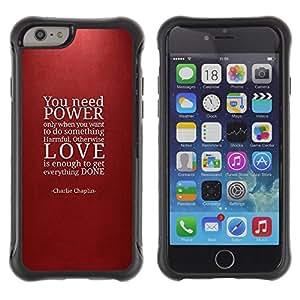 "Pulsar iFace Series Tpu silicona Carcasa Funda Case para Apple iPhone 6+ Plus(5.5 inches) , Poder cita del amor Rojo del marrón de texto"""