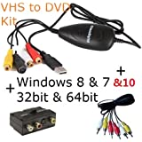 ClimaxDigital USB 2.0 VHS to DVD Video Capture/Converter/DVD Maker Kit. For Windows 10, 8.1, 8, 7, Vista & XP. Easy Way to Convert and Edit your VHS video Tapes to Quality DVD. Software Bundle includes ArcSoft ShowBiz DVD 3.5, +Support Xbox 360/PS3 Colour Recording+ upload video to YouTube. Including AV cable and SCART Adaptor