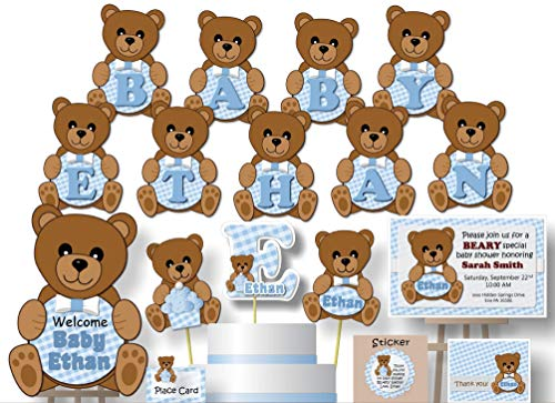 (Personalized Blue Teddy Bear Baby Shower or Birthday Party Decorations for Boy - Banner with Optional Cake Topper, Centerpiece, Sign, Favor Tags or Stickers, Thank Yous - Handmade in USA - BCPCustom)