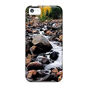 Anti-scratch And Shatterproof Water Falling Through The Stones Phone Case For Iphone 5c/ High Quality Tpu Case