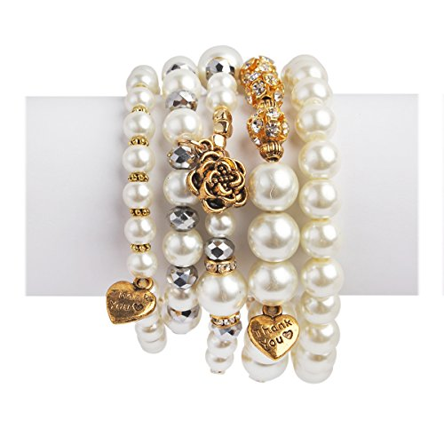 RIAH FASHION Bohemian Multi Strand Faux Pearl Bracelets - Layer Beaded Statement Stretch Lovely Crystal Charm Bangles Flower, Star, Heart (Heart & Rose - ()