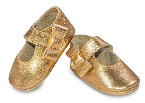 Mary Jane Pear (Baby Moccasins, The Coral Pear Mary Jane, Genuine Leather Shoes for Babies & Toddlers, Gold, Size 3.5M (Babies & Toddlers))