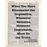 Eliminated the Impossible, Sherlock Holmes Quote, Sir Arthur Conan Doyle, Dictionary Page Art Print, 8x11 UNFRAMED