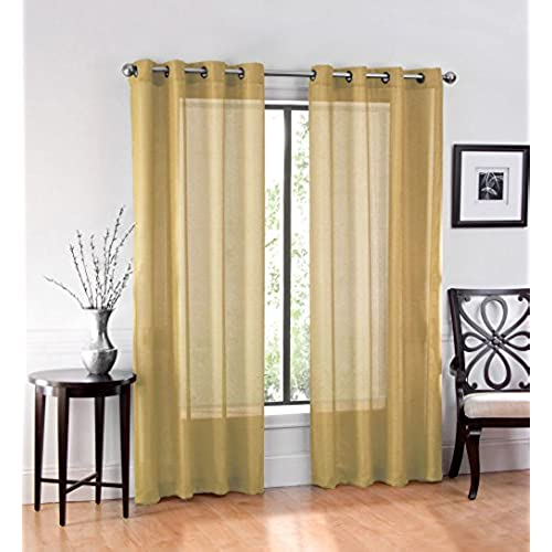 Gold Sheer Curtains Amazon Com