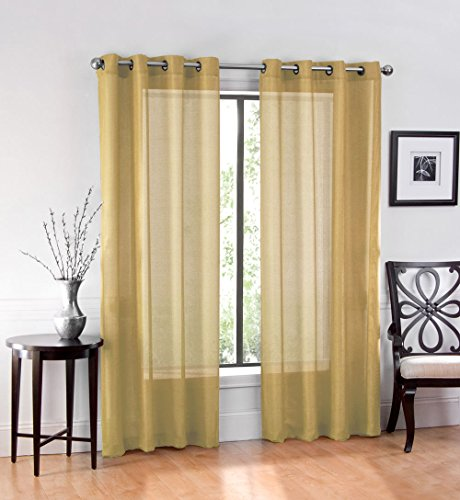GoodGram 2 Pack Ultra Luxurious High Woven Elegant Sheer Grommet Curtain Panels - Assorted Colors (Curtain Gold)