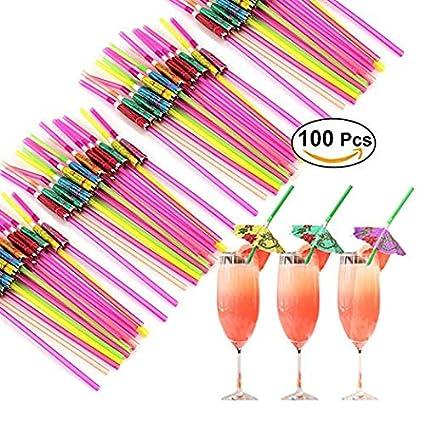 Middletone 100pcs Pajitas Desechable Pajitas Divertida Paraguas y diseño de Flamenco Pajitas de Bebidas para Fiestas