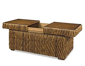 Rectangular Woven Storage Cocktail Table