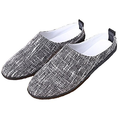 Santimon Mens Womens Anti Slip Mules Slippers Breathable Fabric Light Sneakers Closed Toe Loafers Black EGB66lPo