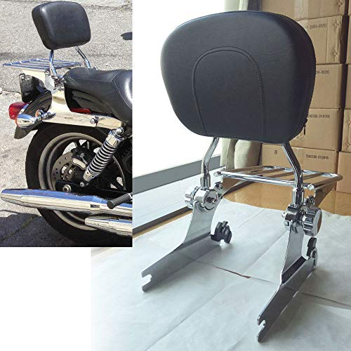 BBUT Adjustable Quick Detach Sissy Bar Backrest Rear Luggage Rack For Harley Softail Fatboy 2000-2006 2001 2002 2003 2004 2005 ()