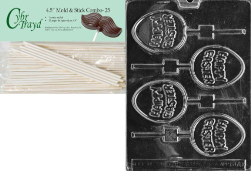 Cybrtrayd Happy Easter Egg Pop Easter Chocolate Candy Mold with 25 4.5-Inch Lollipop Sticks