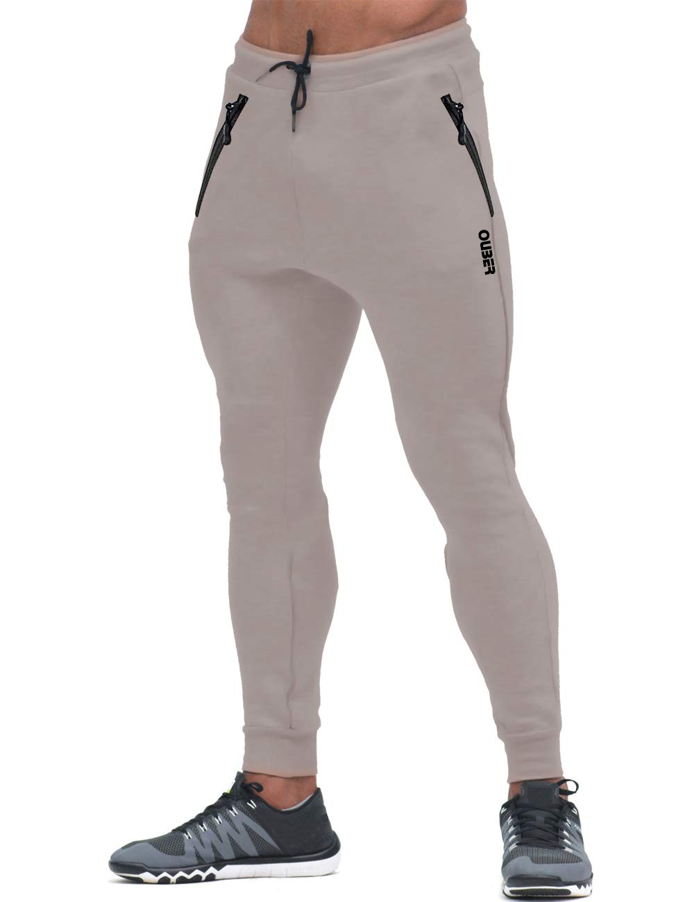 Ouber Men's Slim Fit Joggers Workout Sports Fleece Sweatpants for Gym Training (Grey,S)