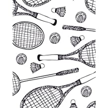 Badminton Notebook: Sport Journal Book Ruled Lined Notebook For Women Girl Boy Teen Men Great For School Tennis Badminton Rackets Writing Diary Note Pad Ball Play Printed (Composition Book Journal) (Large, 8.5 x 11 Inches, 121 Lined Page, Paperback)