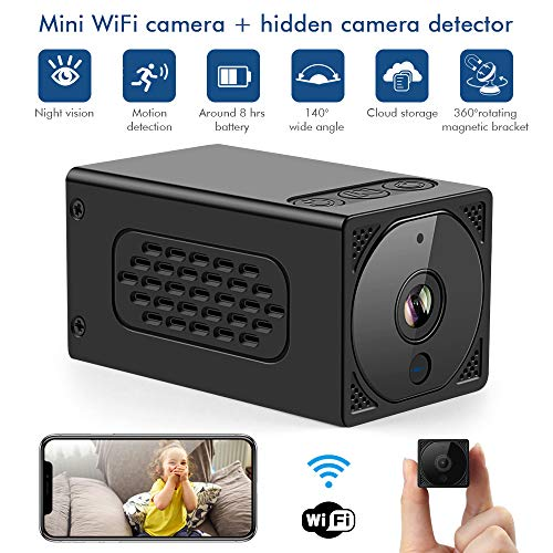 Spy Hidden Camera Hidden Camera Detector Finder Mini Wireless Surveillance Camera WiFi Home Security Camera Nanny Cam with Night Vision Motion Detection Cloud Storage for Home Office Travel Security
