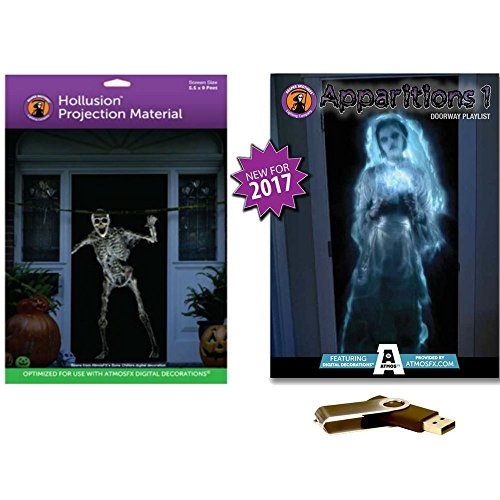 AtmosFearFX Apparitions Halloween Compilation Video on USB and one Large Hollusion Rear Projection (Rear Projection Material Halloween)