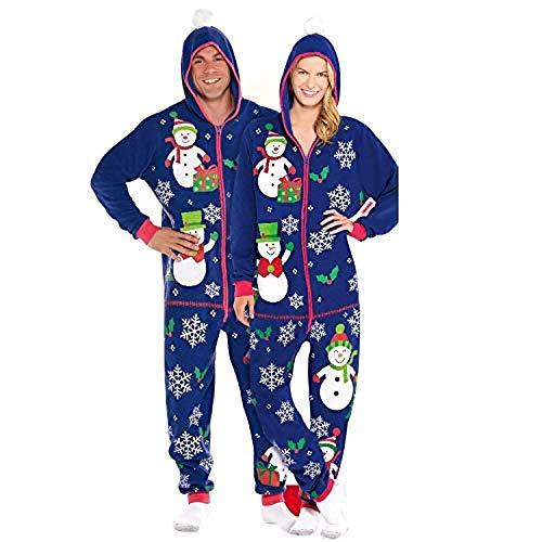Wizland Christmas Mens and Women's Matching Pajamas Winter Fleece One-Piece Pajamas Adult Hoodies (16-18)]()