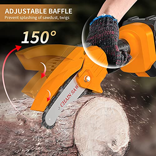 Coofix Mini Chainsaw Cordless,4-Inch One-Hand Handheld Electric Power Small Chain Saw,21V Portable Battery Chainsaw for Garden Farm Orchard Tree Trimming and Branch Wood Cutting