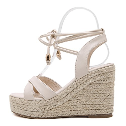 08feaf3ca5 MAKEGSI Womens Jute-Rope Middle Wedge Heel Summer Shoes Flip Sandals Lace  Up (7.5, Creamy-White)