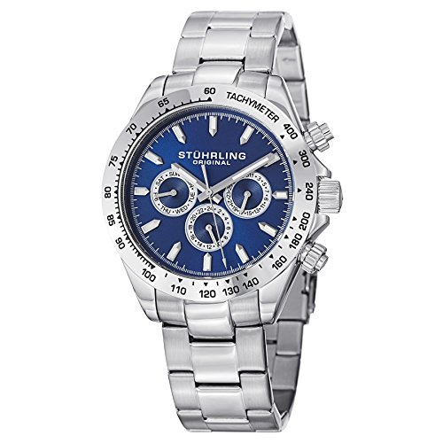 Baby G Baby Bracelet - Stuhrling Original Men's 564.03 Concorso Raceway Quartz Tachymeter Day and Date Stainless Steel Watch