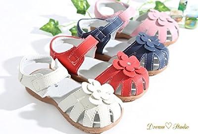 ?Dream Studio?Girls Genuine Leather Solid Flower Sandals
