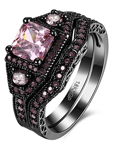 Ring Sapphire Princess Pink (Black Brass White Diamond Prong Set Diamond Princess Cut Diamond Engagement Rings)