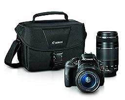 Canon EOS Rebel SL1 Digital SLR with 18-55mm STM + 75-300mm f/4-5.6 III Lens Bundle (Black)