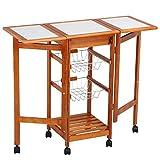 Topeakmart Portable Folding Kitchen Cart Tile Top Drop Leaf Kitchen Island Cart Table Rolling Trolley