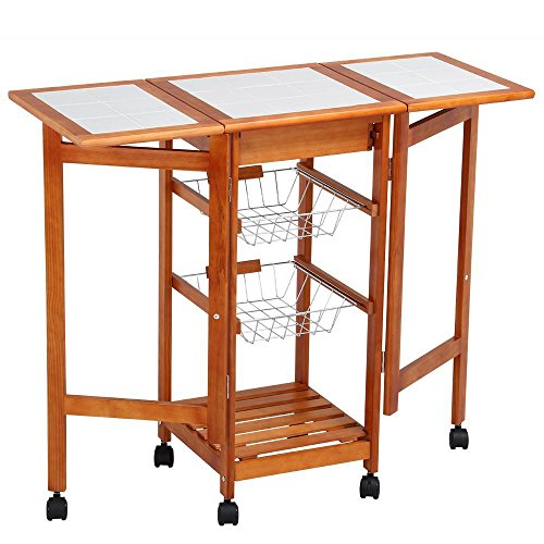 Topeakmart Portable Folding Kitchen Cart Tile Top Drop Leaf Kitchen Island Cart Table Rolling Trolley by Topeakmart
