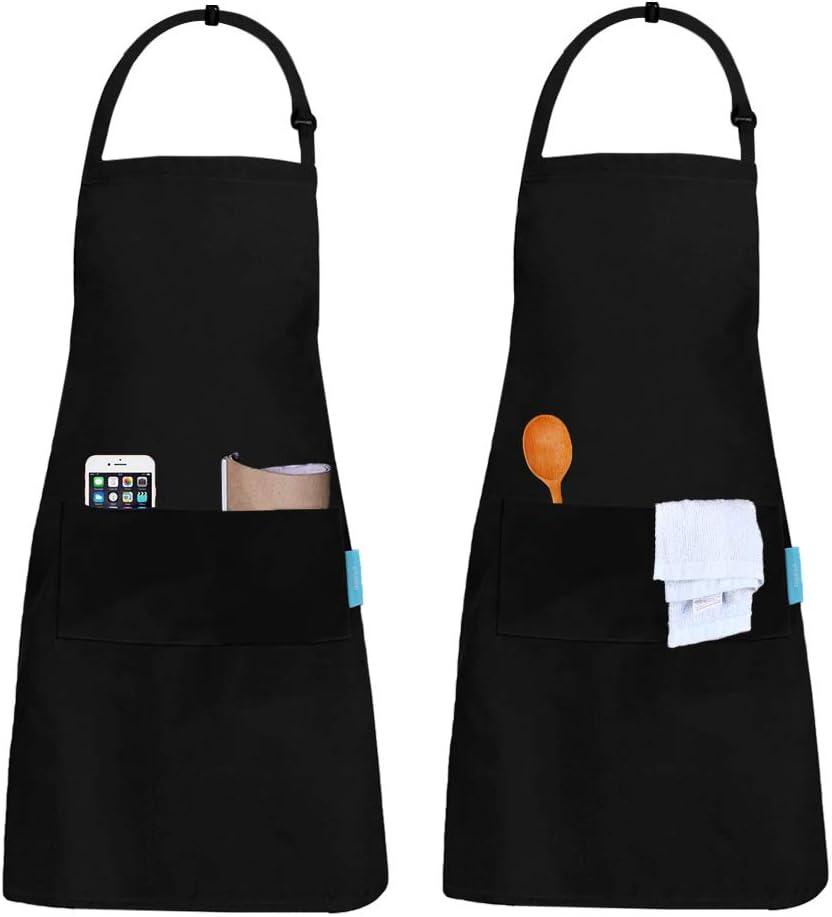 esafio 2 Piezas Delantales Impermeables, Unisex Delantales de Cocinero para Restaurante Barbacoa Cocinar Hornear Color Negro