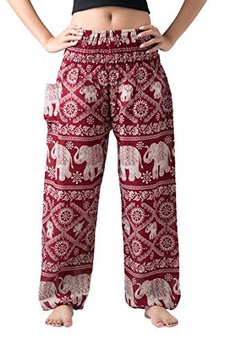 Bangkokpants Women's Casual Pants Harem Bohemian Clothes Hippie Boho Yoga Outfits Smocked Waist (Red, One Size) (Red Harem Pants Yoga)