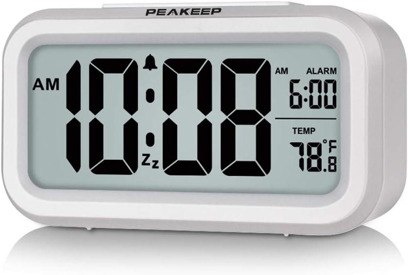 PEAKEEP Smart Night Light Digital Alarm Clock with Indoor Temperature, Battery Operated Desk Small Clock (White)