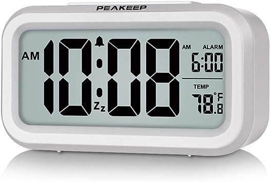 Amazon Com Peakeep Smart Night Light Digital Alarm Clock With Indoor Temperature Battery Operated Desk Small Clock White Electronics