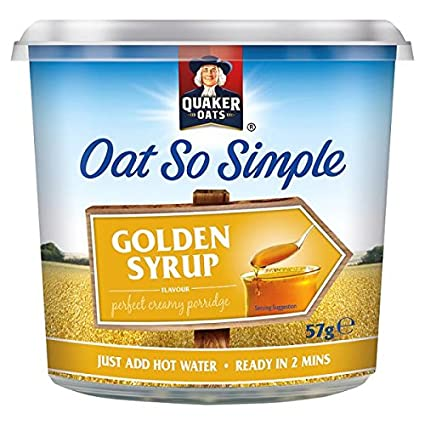 Avena Quaker Oats tan simple 57g Pot oro Jarabe Sabor (paquete de 8 x 57g
