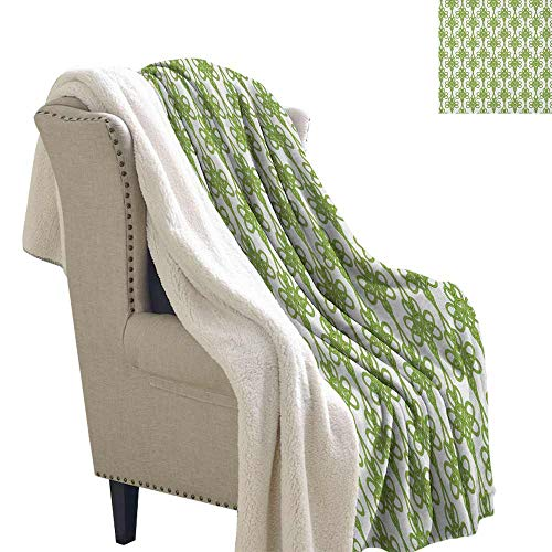 (Willsd Irish Custom Blanket Entangled Clover Leaves Twigs Celtic Pattern Botanical Filigree Inspired Retro Tile Personalized Baby Blanket Green Cream W59 x L31)