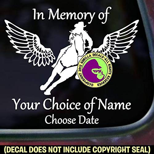 MEMORIAL Barrel Racing Wings ADD CUSTOM WORDS Vinyl Decal Sticker A