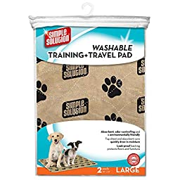 Simple Solution Large Washable Training and Travel Dog Pad, 30 x 32, 2-pack