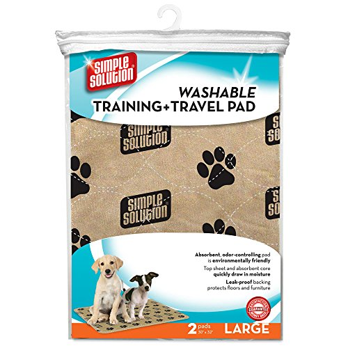 Washable Puppy Pads - Simple Solution Large Washable Training and Travel Dog and Puppy Pad, Large - 2-Count
