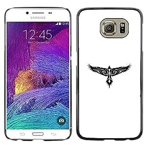 CASER CASES / Samsung Galaxy S6 SM-G920 / Tribal Tattoo Pattern Hawk Eagle / Delgado Negro Plástico caso cubierta Shell Armor Funda Case Cover